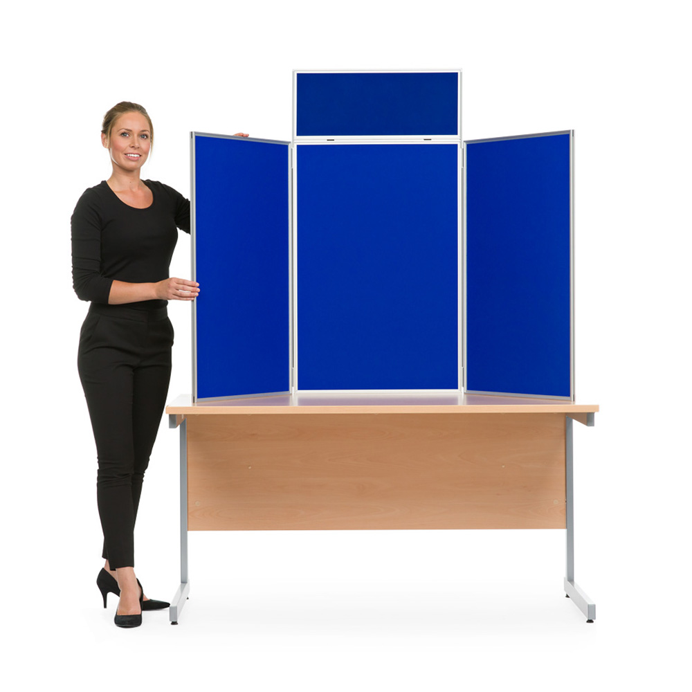3 Panel Table Top Display Boards with Aluminium Frame in Portrait Orientation and Blue Fabric