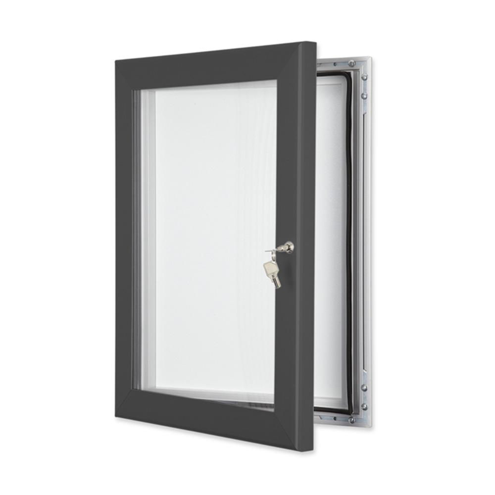 External Lockable Notice Board Wall Mounted in Slate Grey
