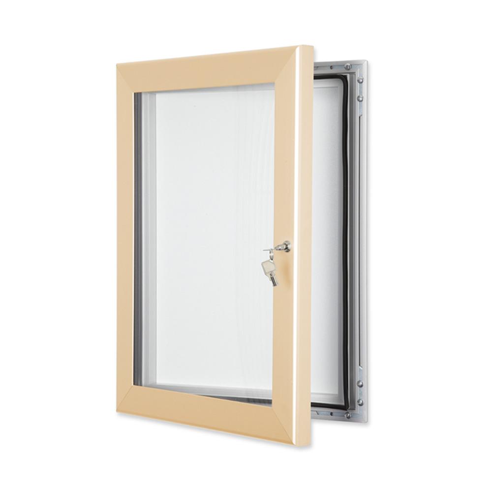 External Lockable Notice Board Wall Mounted in Cream