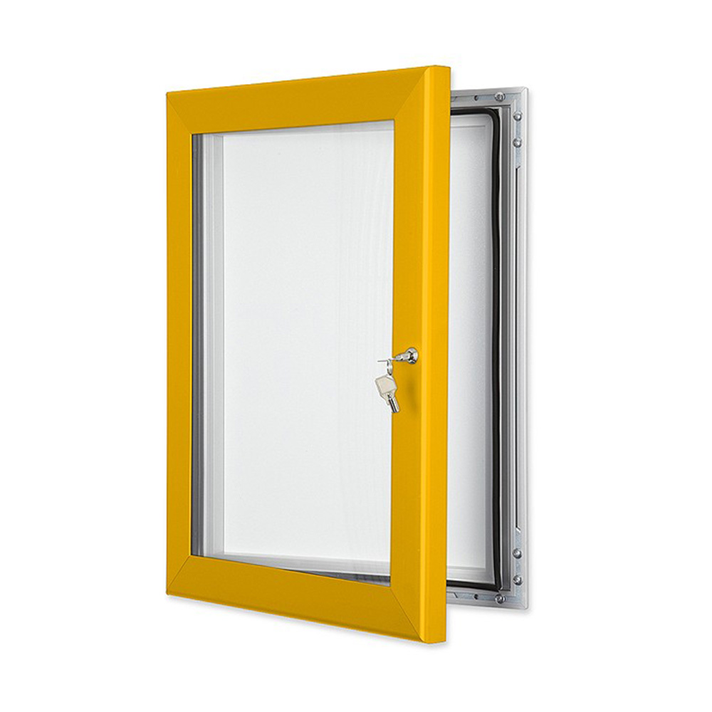 External Lockable Notice Board Wall Mounted in Gold