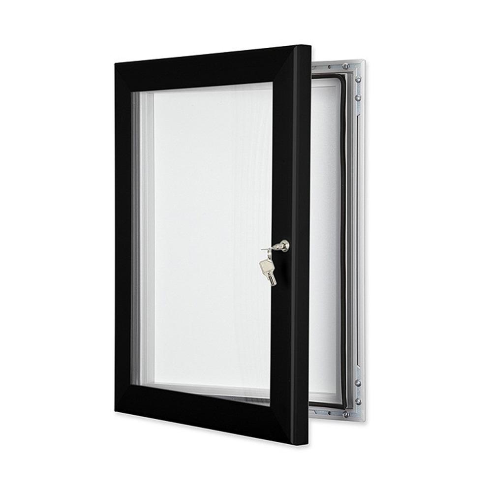 External Lockable Notice Board Wall Mounted in Jet Black