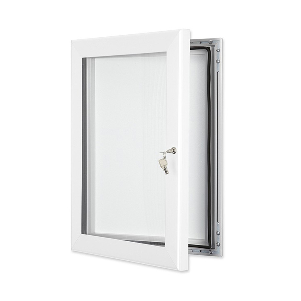 External Lockable Notice Board Wall Mounted in Pure White