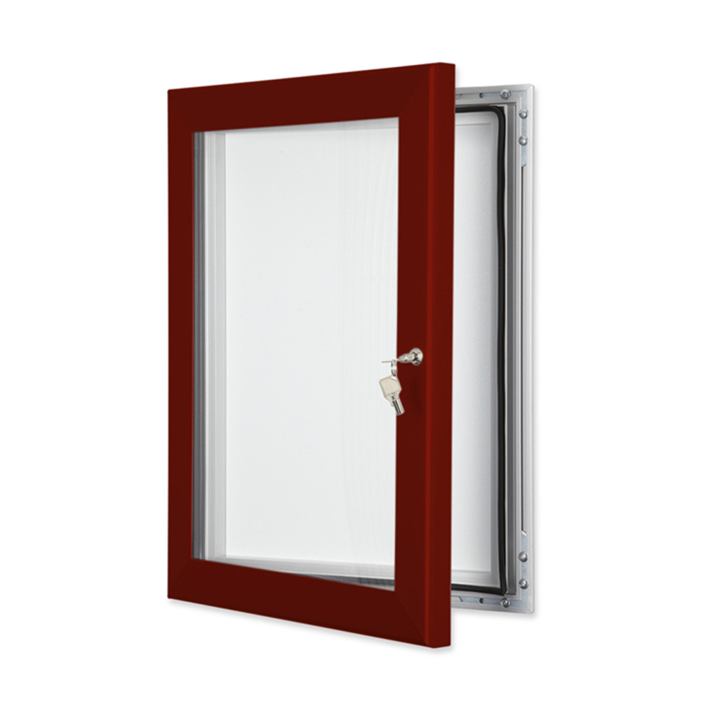 External Lockable Notice Board Wall Mounted in Red Brown