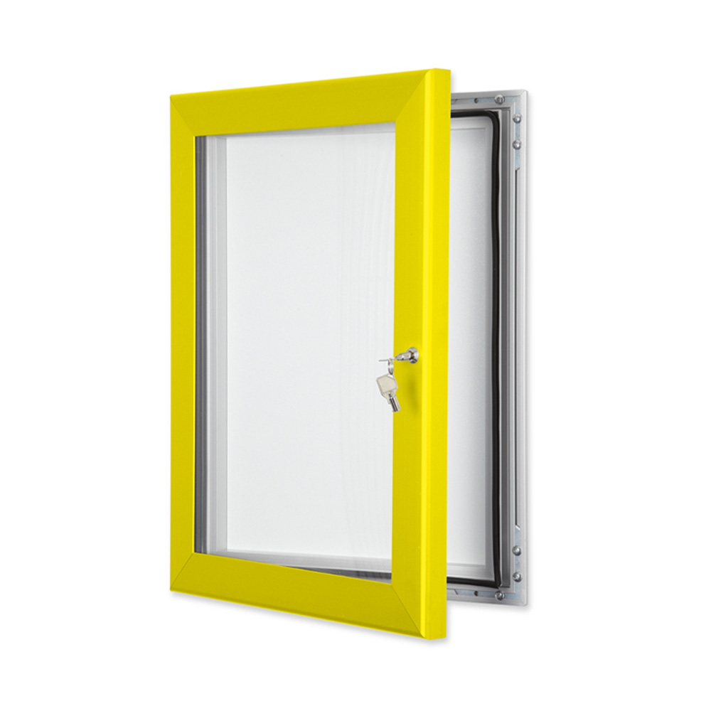 External Lockable Notice Board Wall Mounted in Traffic Yellow