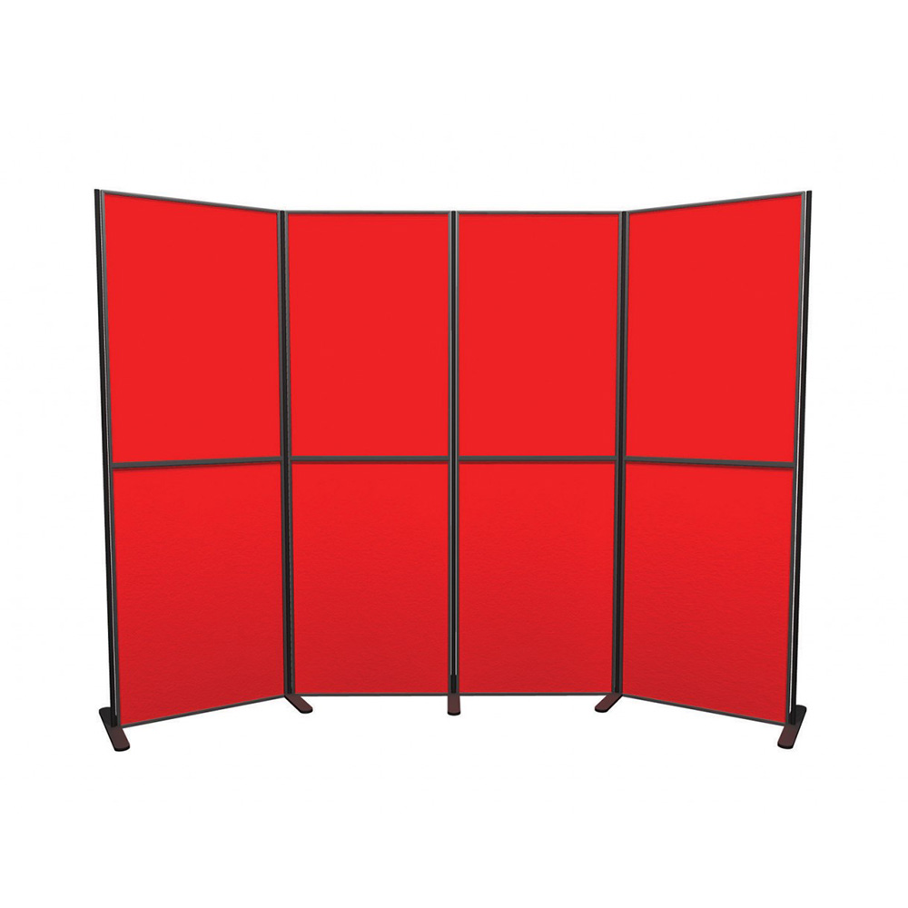 8 Panel and Pole Portrait Modular Presentation Boards in Red